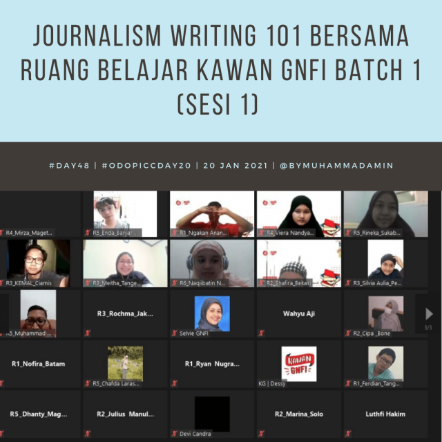 Journalism Writing 101 bersama Ruang Belajar Kawan GNFI Batch 1 (sesi 1)