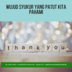 Wujud Syukur yang Patut Kita Pahami